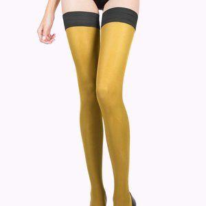 Mustard Yellow Tights, Thigh High Stockings
